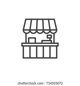 Food stall line icon, outline vector sign, linear style pictogram isolated on white. Symbol, logo illustration. Editable stroke