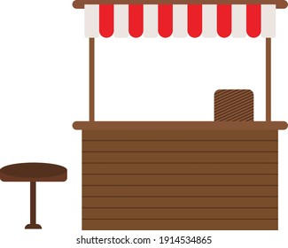 Food stand, illustration, vector on a white background.
