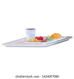 food is standing on a tray for an airplane, isolated object on a white background,