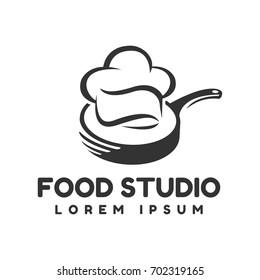 Food studio vector logo. Kitchen tools. Food icon. Cooking logo. Restaurant vector logo template. Cafe logo. Chef hat icon
