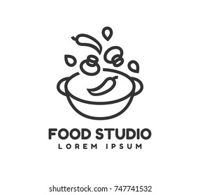 Food studio vector logo template