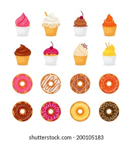 Food sweets bakery and pastry donut and cupcake icons set isolated vector illustration