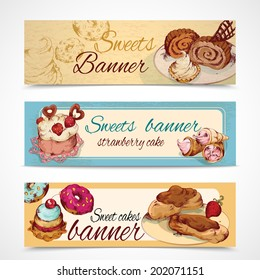 Food sweets bakery and pastry sketch colored banners set isolated vector illustration