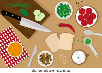 Food table top view, flat vectors