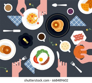 Food table top view vector illustration flat design