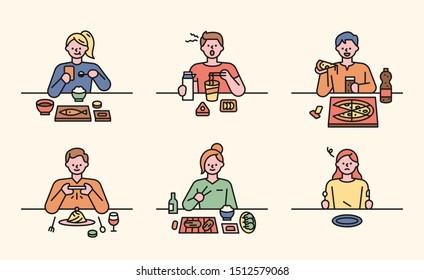 Food table with various menus. flat design style minimal vector illustration.