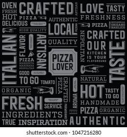 Food tags typography texture background. Pizza box template design.