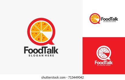 Food Talk logo with Pizza symbol vector illustration