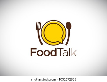 Food talk logo,vector Logo Template