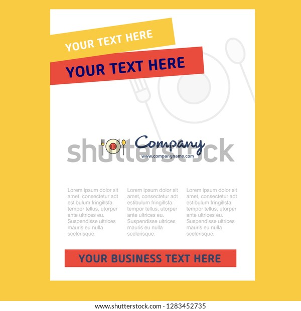 Food Title Page Design Company Profile Stock Vector (Royalty