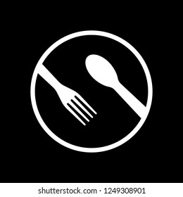 food tools. fork and spoon. White icon on black background. Inversion