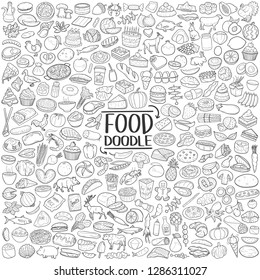 Food Traditional Doodle Icons Sketch Hand Made Design Vector