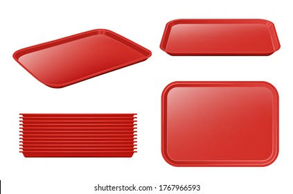 Food tray. Empty plastic plateau realistic vector mockup restaurant equipment for holding products and dishes