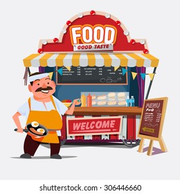 food trolley with chef character - vector illustration