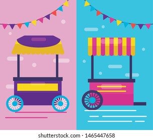 food truck booth snack pennants decoration vector illustration