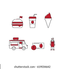 Food truck business icon set. Van, money, burger and saleslady line illustration