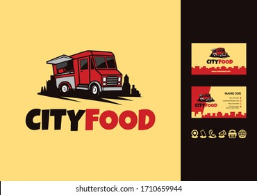 Food truck city logo with business card design vector
