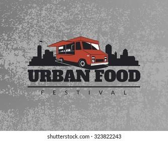 Food truck emblem on grunge grey background. Urban, street food illustrations and graphics.