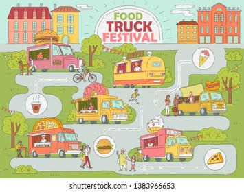 Food truck festival city map - fast food market with ice cream truck, donut and coffee shop, pizza van, hot dog stand with customers, hand drawn cartoon style infographic vector illustration