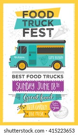 Food truck festival menu food brochure, street food template design. Vintage creative party invitation with hand-drawn graphic. Vector food menu flyer. Hipster menu board.