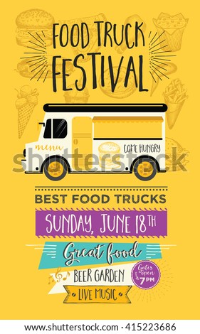 food truck festival menu food brochure のベクター画像素材