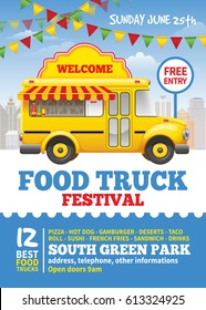 Food truck festival poster design template. Cute vintage food truck on blue sky background. Vector illustration. For holiday flyers and banners design.