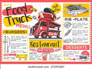Food truck festival vector menu template with bbq food truck logo design.