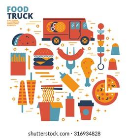 Food Truck, Flat Design, Illustration