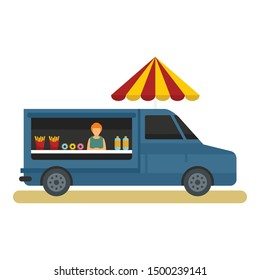 Food truck icon. Flat illustration of food truck vector icon for web design