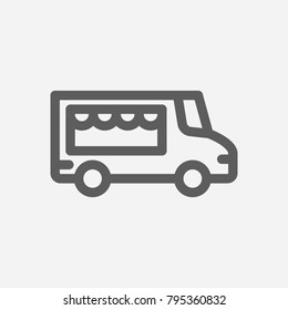 Food truck icon line symbol. Isolated vector illustration of street food sign concept for your web site mobile app logo UI design.