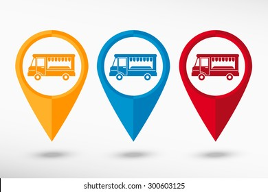 Food truck icon  map pointer, vector illustration. Flat design style