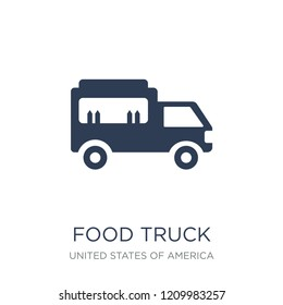 Food truck icon. Trendy flat vector Food truck icon on white background from United States of America collection, vector illustration can be use for web and mobile, eps10