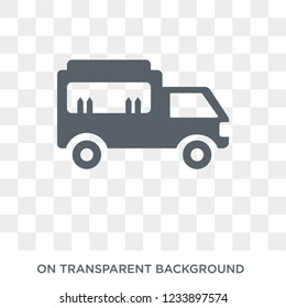 Food truck icon. Trendy flat vector Food truck icon on transparent background from United States of America collection.