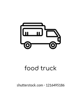 Food truck icon. Trendy modern flat linear vector Food truck icon on white background from thin line United States of America collection, editable outline stroke vector illustration