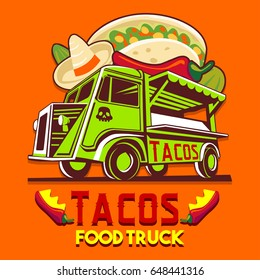 Food truck isolated logotype for taco Mexican meal fast delivery service or summer food festival. Truck van with Mexican food advertise ads vector old logo car
