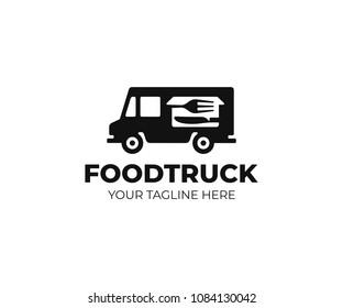 Food truck logo template. Street food wagon vector design. Retro food truck logotype