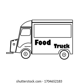 Food truck logo template. Street food wagon vector design. Retro food truck logotype. Ouline style stock illustration isolated on white background