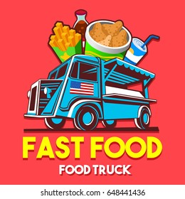 Food truck logotype for fast food restaurant delivery service or festival. Truck van with advertise ads vector logo
