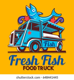 Food truck logotype for fish shop fishmonger fast delivery service or food festival. Truck van with advertise ads vector logo
