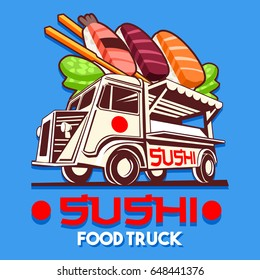 Food truck logotype for Japanese Sushi Sashimi fast delivery service or asia food festival. Truck van with sushi advertise ads vector logo