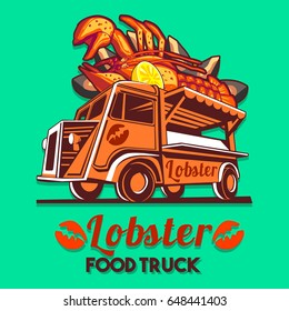Food truck logotype for lobster and seafood salad fast delivery service or summer food festival. Truck van with red lobster advertise ads vector logo