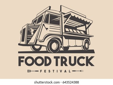 Food truck logotype for restaurant delivery service or street food festival. Vector Logo car
