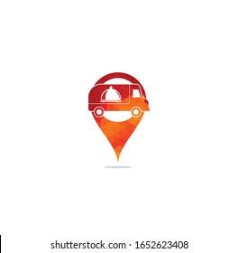 food truck map pin shape concept logo design template. food delivery logo design. food truck courier logo design.