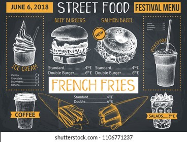 Food truck menu design on chalkboard. Fast food Restaurant flyer. Vector cafe template with hand drawn graphic - burgers, drinks, desserts.