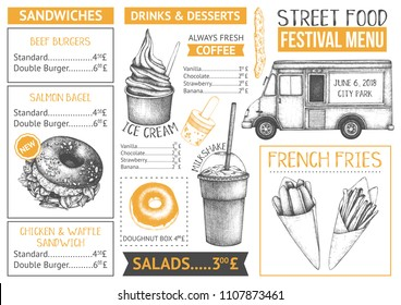 Food truck menu design on white backgorund. Fast food Restaurant flyer. Vector cafe template with hand drawn graphic - burgers, drinks, desserts.