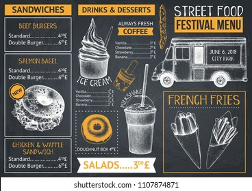 Food truck menu design on chalkboard. Fast food Restaurant flyer. Vector cafe template with hand drawn graphic - burgers, drinks, desserts on chalkboard