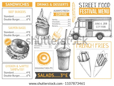 food truck menu design on white stock vector royalty free