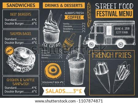food truck menu design on chalkboard stock vector royalty free