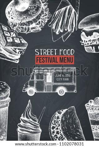 food truck menu design template hand stock vector royalty free