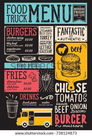 food truck menu street festival design のベクター画像素材